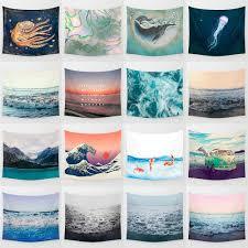 cartoon sea waves art hanging wall hippie tapestry home decor yoga