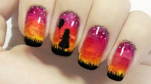 with a balloon sunset nails freehand nail art youtube