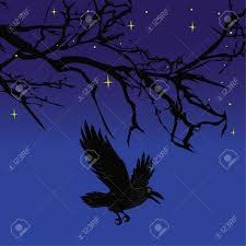 scary halloween images free dark crow bird flying over scary halloween night tree illustration