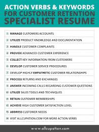 List Of Resume Action Verbs by Action Verbs U0026 Keywords For Customer Retention Specialist Resume
