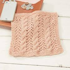 cables and lace dishcloth free knitting pattern knitting bee