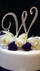 l cake topper s monogram cake topper 5 initial wedding rhinestone