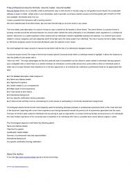 resume builder free online resume builder