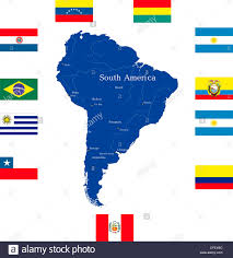 World Map Country Flags Abstract Map Of South America Continent With Countries Flags Stock