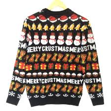 merry crustmas pizza lover tacky sweater the