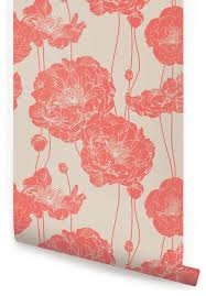 Peal And Stick Wall Paper Peony Wallpaper Peel And Stick Contemporary Wallpaper By