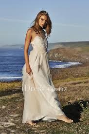retro lace embroidered illusion neck cream tulle beach wedding