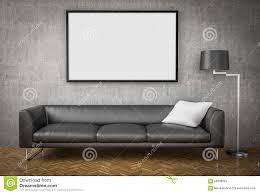 mock up poster big sofa concrete wall background 3d illustrat