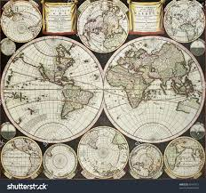 Double Map Old Double Emisphere Map World Surrounded Stock Photo 80145112
