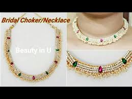making necklace chain images How to make bridal choker bridal silk thread necklace at home jpg
