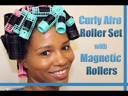 how to put rollersin extra short hair curly afro spiral curls roller set on natural hair using magnetic