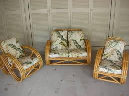 Vintage Rattan Patio Furniture - image 1 vintage white wicker matching chairs with nice yellow and