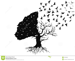 birds flying from the tree stock vector illustration of isolated