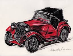 red classic car illustration 1932 ford roadster retro art old