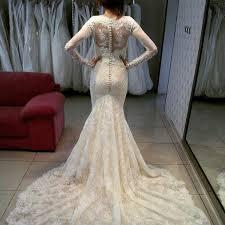 beautiful long sleeve lace wedding dress 2017 lace zipper button