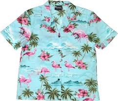 flamingos womens blue hawaiian shirt