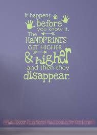 children s home decor handprints get higher then disappear vinyl lettering art wall