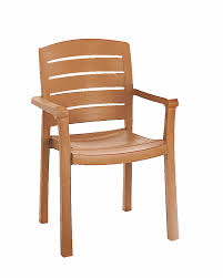 Wooden Restaurant Chairs Grosfillex Acadia Teakwood Classic Stacking Synthetic Wood Outdoor