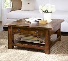 Rustic Coffee Table With Wheels Glass Wood And Metal Coffee Tables Pottery Barn