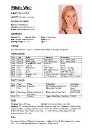 Musical Theater Resume Sample by Acting Cv