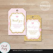 thank you favors pink and gold princess favor tags thank you tags gift favors