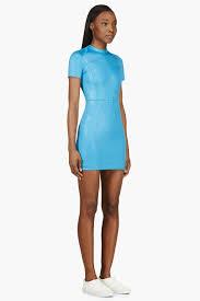t by alexander wang azure short sleeve glossy scuba dress in blue