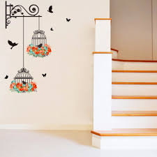 online get cheap scroll window aliexpress com alibaba group fake metal scroll shelves flowers birdcage flying birds wall stickers home decor wall decal hallway corner wall graphic poster