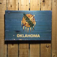 American State Flags Oklahoma Flag On Wood 11x17 Oklahoma Wall Art Oklahoma