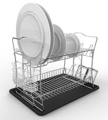 Bed Bath And Beyond Dish Rack Amazon Com Izlif 2 Tier Chrome Finish Dish Drying Rack Set And
