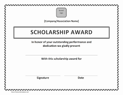 templates for scholarship awards scholarship award certificate