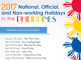 2017 official non working holidays in the philippines