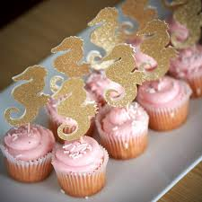 seahorse cake topper glitter seahorse engagement cupcake toppers the sea wedding