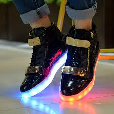 gold light up sneakers mens led shoes with light up soles gold straps black leather cheap sale