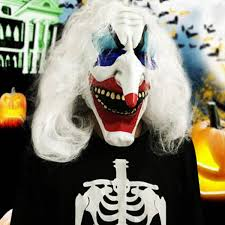 Halloween Clowns Props White Hair Clown Halloween Latex Mask Face Fancy Costume Party