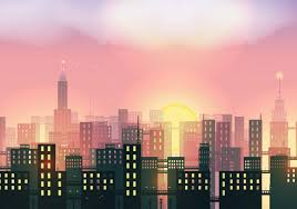 sunset in the city background vector free