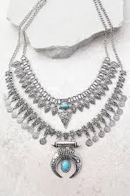 boho statement necklace images Stylish turquoise and silver necklace silver statement neckalce jpg
