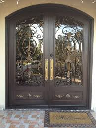 rustic double front doors with arch shape design combined dark