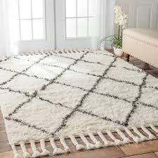 nuloom hand knotted moroccan trellis natural shag wool rug 4 u0027 x 6