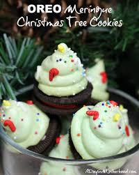 oreo meringue christmas tree cookies