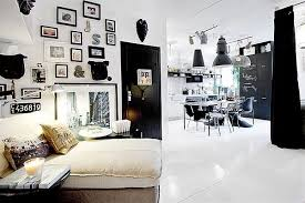 black white interior tiny black and white apartment decorated with subway tiles