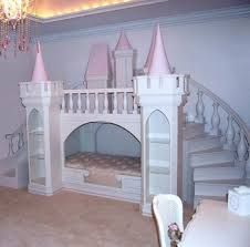 furniture white and pink little girls princess bed with stair and