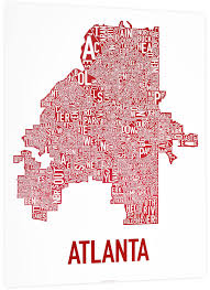 Pink Line Chicago Map by Atlanta Neighborhoods Type Map Posters U0026 Prints