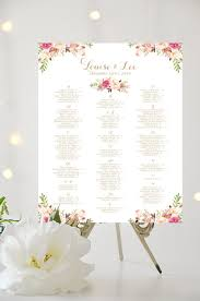 wedding seating chart alphabetical large poster romantic