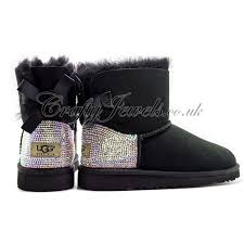 buy ugg boots uk adults mini bailey bow ugg boots in black ab or clear crystals