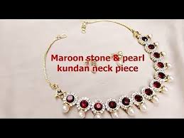 white necklace fashion jewelry images Fashion jewelry making maroon stone and white kundan neck piece jpg