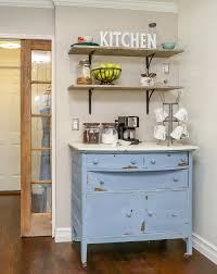 how to build a farmhouse coffee bar easy diy open shelves and a