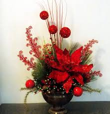 decoración navideña ponsetia floral arrangement