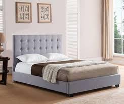 queen platform bed grey linen w nailhead trim brantford