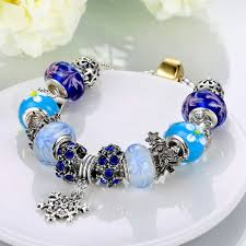 pandora halloween ouruora blue murano glass beads crystal charm diy bracelet