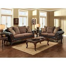 Dark Cherry Sofa Table by Furniture Of America San Roque Livingroom Set In Crosshatch Brown